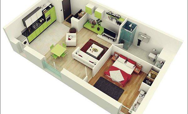 """Tổng hợp 10 mẫu căn hộ 1 phòng ngủ """"cực hợp"""" cho người độc thân hoặc vợ chồng trẻ"""